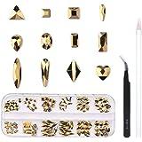 120 Pcs Multi Shapes Glass Crystal AB Rhinestones For Nail Art Craft, Mix 12 Style FlatBack Crystals 3D Decorations Flat Back