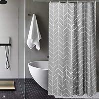 AooHome シャワーカーテン 防水 防カビ 90x180cm ユニットバス 浴室 高密度 速乾 加重 加厚 ストライ…