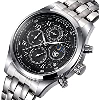 Men Watch Black Full Steel Star Dial Luxury Chronograph Sports Watches Quart Analog Wristwatch for Man