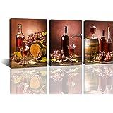 Baisuwallart-3 Pieces Kitchen Wall Decor Red Wine Cups HD Modern Framed Wall Art Drink Food and Beverage Restaurant Canvas Pr