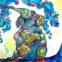 "TANGANGELボヘミアン象のシャワーカーテン民族水彩ヴィンテージ抽象部族図形象トーテム浴室装飾フリーフック付きセット(3、72""x 72"")"