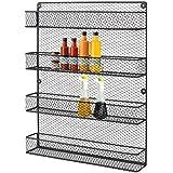 HLC 4 Tier Wall Mounted Spice Rack Bottle Holder Kitchen Jar Organizer Shelves Black