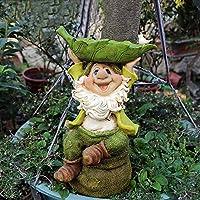 クリエイティブ樹脂の庭の彫刻装飾屋外の中庭漫画工芸装飾品工場ジューシーなフラワーポット ガーデンアート置物 (Color : Green, Size : 21x15x35cm)