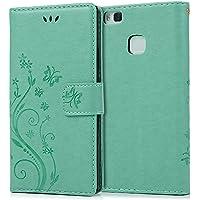 Huawei P9 liteケース Mavis's Diary 横置き 耐久性 保護ケース 吸着の機能 スタンド 手帳型 PUレザー素材 ミントグリーン