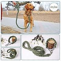 反射大型犬リーシュナイロンロープペットランニングトラッキングリードドッグマウンテンクライミングロープミディアム大きな大きな犬のためのロープ 陸軍グリーンXLネック 50-60cm