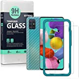 Ibywind Screen Protetor for Samsung A51 [Pack of 2] with Camera Lens Protector,Back Carbon Fiber Skin Protector,Including Eas
