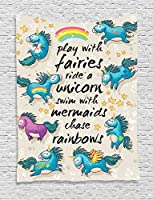 Ambesonne Cartoon Tapestry, Mythical Unicorns with Stars and Rainbow Legendary Creature Kids Theme Print, Wall Hanging for Bedroom Living Room Dorm, 60 W X 80 L Inches, Beige Teal Blue [並行輸入品]