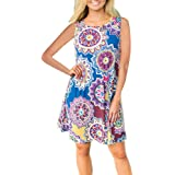 Hansair Womens Summer Vintage Boho Maxi Evening Party Beach Floral Like Crop Circles Dress