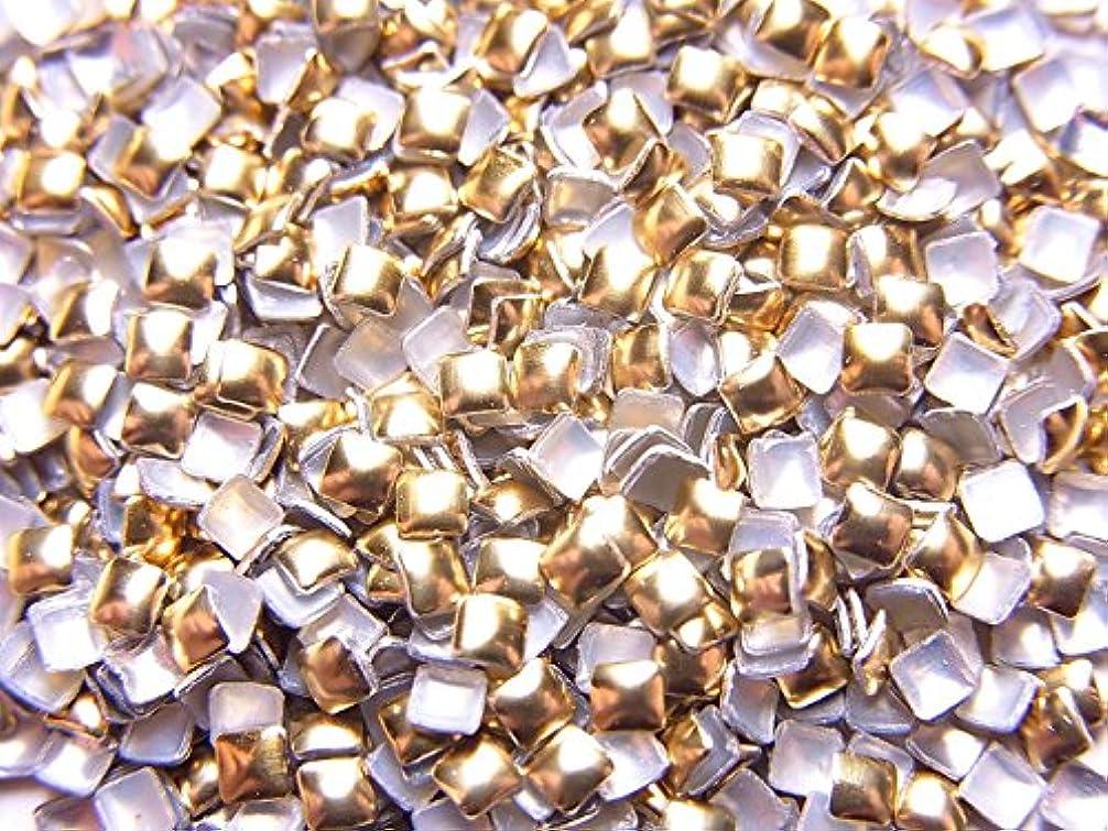 広範囲にパック悲しい【jewel】スクエア型(正方形)メタルスタッズ 2mm ゴールド 約100粒入り