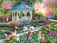 Diyの油絵子供のためのデジタル油絵大人初心者16x20インチ、子供と動物--クリスマスの装飾ホームインテリアギフト (フレームなし)
