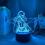 3D Night Light Anime lamp for Child,LED Levi Ackerman Anime LAMP Attack Titan Levi Color Changing Table Lamp for Home Decor
