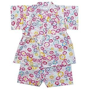 《盛夏 甚平》(ジンベイ) 日本製ベビー女児 リップル生地朝顔総柄甚平スーツ 80cm/OW NO.OG-75571
