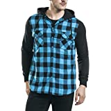 Hestenve Mens Casual Plaid Hoodie Jackets Lightweight Long Sleeve Check Patterned Shirt Tops with Pockets