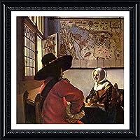 "Alonlineアート–Officer and Laughing Girl Johannes Vermeer Framedのコットンキャンバスホーム装飾壁アート博物館品質フレームをハングアップする準備フレーム 20""x20"" - 51x51cm (Framed Cotton Canvas) VF-VRM106-FCC0F32-1P1A-20-20"
