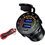 LiDiVi Quick Charge 3.0 Dual USB Car Charger Socket with Colorful Voltmeter & ON/Off Switch, 12V USB Outlet for Car Marine Bo