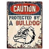 "Caution Protected By A BulldogシックSignヴィンテージレトロ素朴な9"" x12""メタルプレートホーム部屋ドア壁装飾"