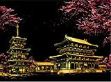 Bolso スクラッチアート 世界の景色 夜景 ナイトビュー スクラッチ ペン セット (日本 桜)