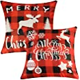 Decorative Throw Pillow Cover 18x18, Cotton Linen Pillow Cushion Cases for Couch, Sofa, Bed (Insert Not Included) - (Christma