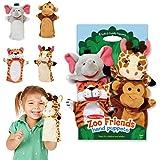 Melissa & Doug 9081 Zoo Friends Hand Puppets (Set of 4) - Elephant, Giraffe, Tiger, and Monkey