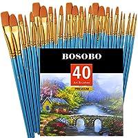 BOSOBO ペイントブラシセット ラウンドポイントチップ ナイロンヘアアーティスト アクリルペイントブラシ アクリルオイル 水彩 フェイス ネイルアート モデル クラフト ミニチュアディテーリング ロックペイント ブルー 4 Pack ブルー BOSOBO-AC&S-180016