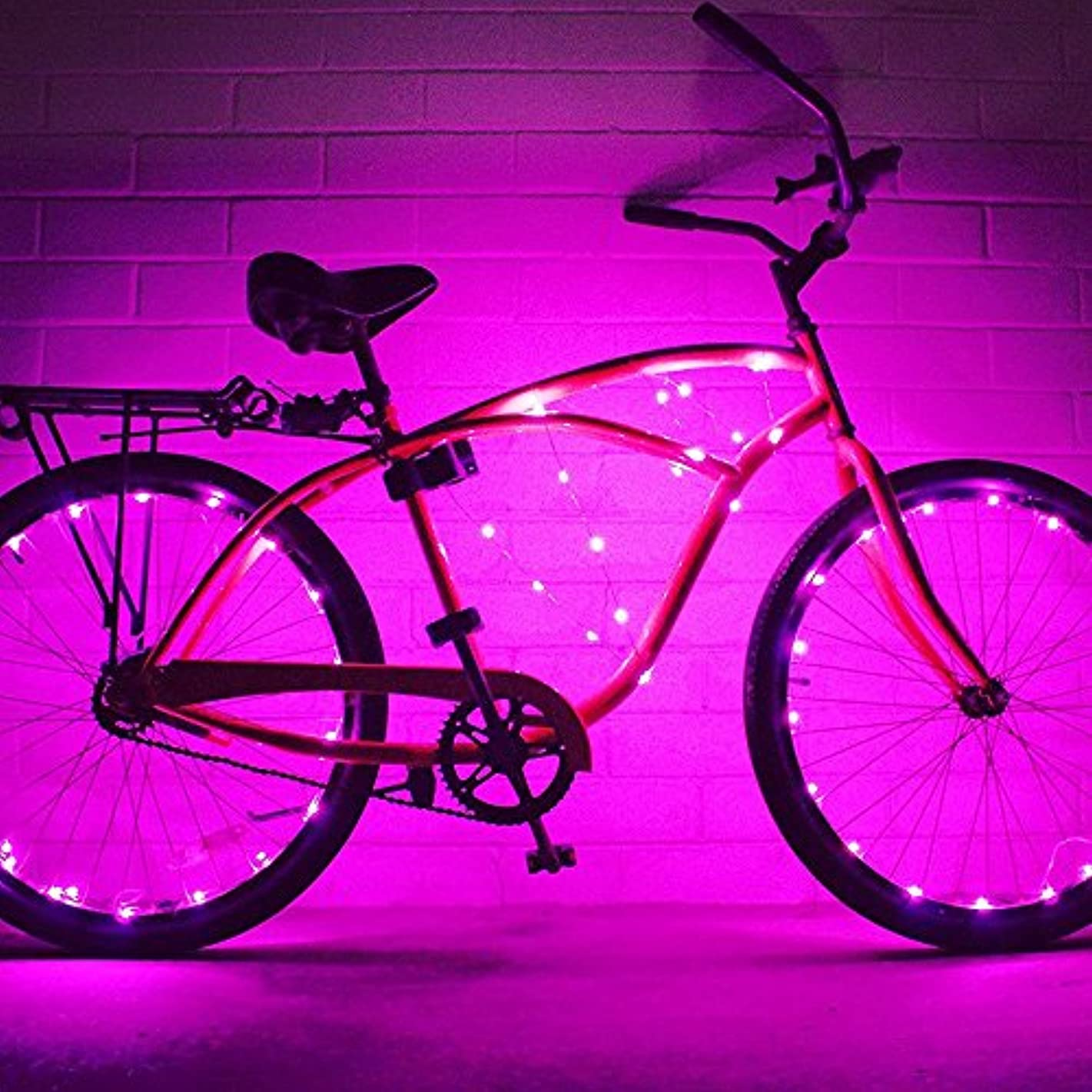 散髪角度アクセスWELSUN ピンクの自転車ホイールライト防水自転車ライトの長さ2m 20夜間サイクリングスポークアクセサリーのための安全なランプを導いた