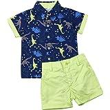 No non-never Toddler Baby Boy Clothes Short Sleeve Shirt Button Down Dinosaur Top Short Pants Summer Outfits Set