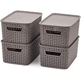 EZOWare Small Gray Plastic Knit Baskets Shelf Storage Organizer Perfect for Storing Small Household Items - Pack of 4 4pc wit
