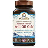 Maximum Strength Krill Oil Gold - 1000 mg, 60 softgels IKOS 5-Star Certified, Hexane-free, Cold-Pressed Neptune Krill Oil wit