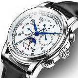 カーニバルメンズComplications Calendar Moon Phase 24時間アナログ自動機械腕時計Calfskin Band Black Leather-White
