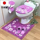 おしゃれ トイレマット 4点 セット 洗浄暖房型・普通型 共用 ピンク 日本製 北欧 あざやか バラ 花 フラワー オカ チェルシー