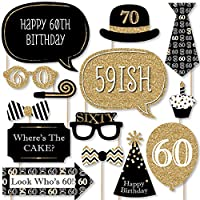 Adult 60th Birthday - Gold - Photo Booth Props Kit - 20 Count