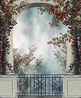 バルコニーアーチBackdrop写真カラフルレッドローズVines Fantasy Garden Studioブースの背景写真撮影小道具8x 10ft 4183