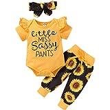 Baby Girls Newborn 3PCS Clothes Top Flower Printed T Shirt Pants Headband Sweatshirt Infant Outfit Clothing Sets Bodysuit