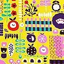 手芸のいとや 生地 8号帆布 北欧の森 北欧風ガーデン イエロー 生地幅-約110cm×50cmカット 綿100 手芸 ハンドメイド用品