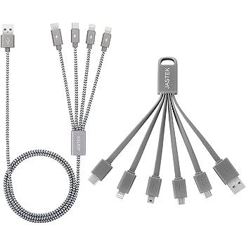 マルチ USB ケーブル JASTEK 2set 4in1と6in1多機能USB充電ケーブル,iPhone micro USB mini USBポートに適用 グレー