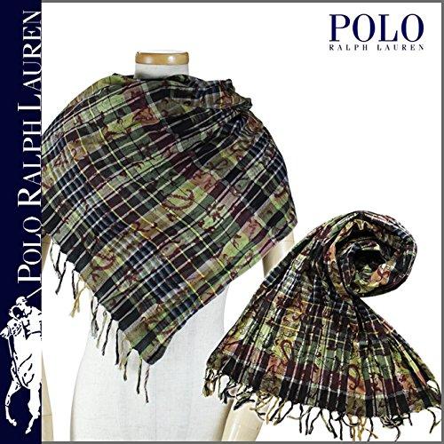 (ポロ ラルフローレン) POLO by RALPH LAUREN スカーフ ストール メンズ ペイズリー グリーン MADRAS PAISLEY PRINT SCARF ONE SIZE (並行輸入品)