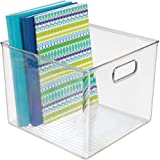 mDesign Plastic Storage Container Bin with Carrying Handles for Home Office, Filing Cabinets, Shelves - Organizer for School