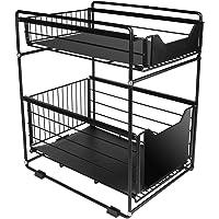 シンク下スライドラック 2段 幅28 引き出し式 ステンレス棚 キッチン シンク下 隙間収納 調味料 小物入れ 収納 整…