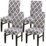 4 x Modern Stretch Dining Chair Covers with Printed Pattern,TERSELY Washable Spandex Fit Slipcovers for High Chairs Protectiv