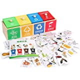 Toyvian 1 Set Kid Trash Can Toy Kids Wooden Garbage Classification Learning Toys Childrens Toys Card Game Board Game Educatio