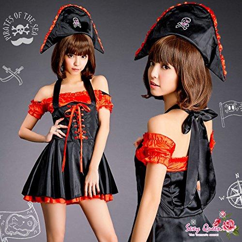 【OSYAREVO】海賊衣装セット コスチューム ブラウン ホワイト パイレーツ レディース Lサイズ
