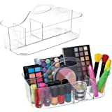 mDesign Plastic Makeup Storage Organizer Utility Tote Caddy with Handle for Organizing Eyeshadow Palettes, Nail Polish, Makeu