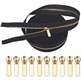 VOC Metal Zippers for Sewing,#3 Gold Y Teeth Long Zippers Bulk 5 Yards Black Tape Upholstery with 10 Zipper Pull for Sewing B