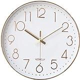 HZDHCLH 掛け時計 電波時計 おしゃれ 北欧 連続秒針 静音 壁掛け時計 自動受信 リッピング 掛時計 インテリア 大数字 見やすい 30cm (電波・ピンク)