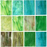 Lanyani 10 Sheets Variety Stained Glass Sheets Pack, 4 x 6 inch Large Cathedral Glass Mosaic Tiles for Crafts, Green Mixed
