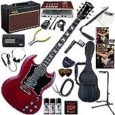 GRASSROOTS エレキギター 初心者 入門 ESP直系のブランド 定番のSG ギターの練習が楽しくなるCDトレーナー(エフェクターも内蔵)と人気のギターアンプVOX Pathfinder10が入った強力21点セット G-SG-55L/CH(チェリーレッド)