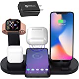 SOULIAN Qi ワイヤレス充電器 3 in1 iphone Apple Watch AirPods Pro 充電 スタンド 多機能 携帯電話ホルダー ワイヤレス充電ドッグ Android/iPhone 11 11 Pro XS max 8 plus 7 6 /Apple Watch 5 4 3 2 1/Airpods充電器 その他Qi対応機種も適用