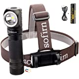 Led Headlamp, Sofirn SP40 Rechargeable 1200 Lumen Bright Head Flashlight with 18650 battery (Inserted), Right Angle Headlight