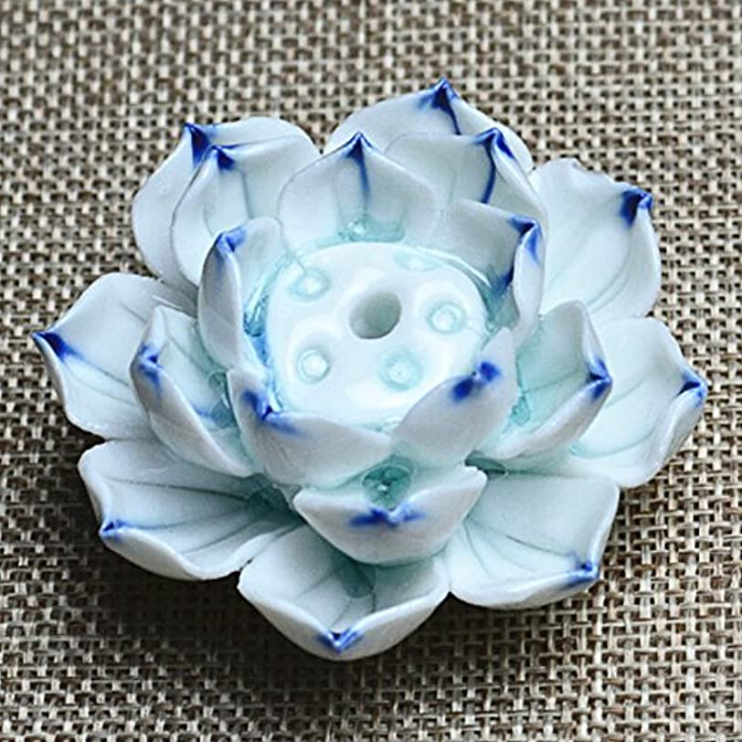 タップ以降正しくLiebeye セラミック 香炉 バーナー スティック ホルダー アッシュ キャッチャー プレート 1/3穴 ブルー?パープル ポイントの花