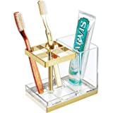 mDesign Decorative Plastic Bathroom Toothbrush and Toothpaste Stand Holder - Dental Organizer with 5 Storage Compartments for